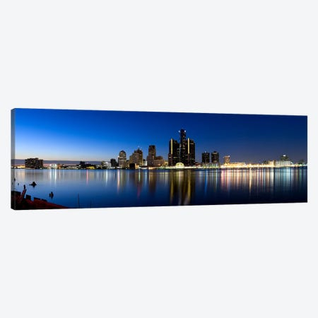 Buildings in a city lit up at dusk, Detroit River, Detroit, Michigan, USA #2 Canvas Print #PIM8029} by Panoramic Images Art Print