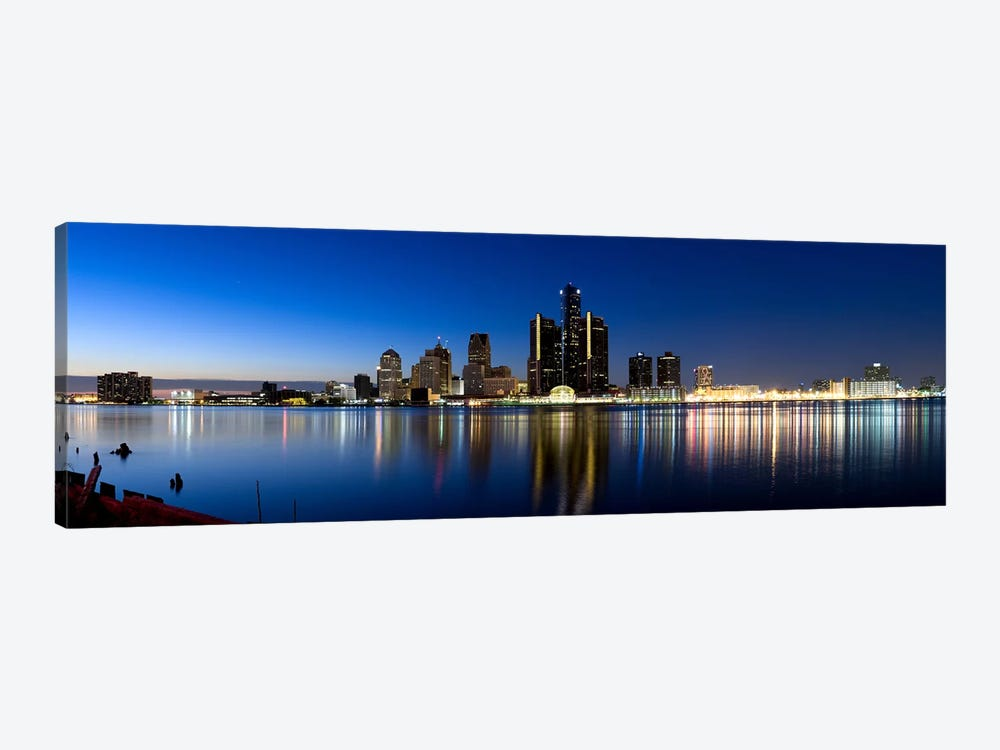 Buildings in a city lit up at dusk, Detroit River, Detroit, Michigan, USA #2 by Panoramic Images 1-piece Canvas Art