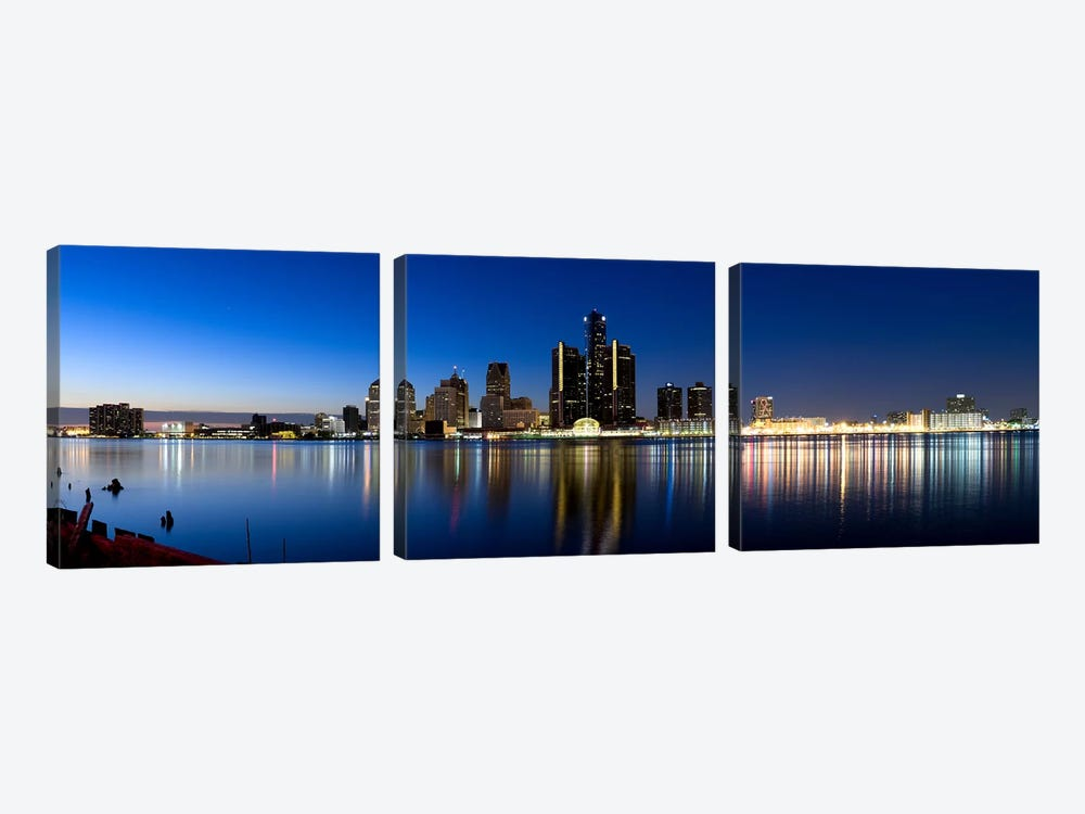 Buildings in a city lit up at dusk, Detroit River, Detroit, Michigan, USA #2 by Panoramic Images 3-piece Canvas Artwork
