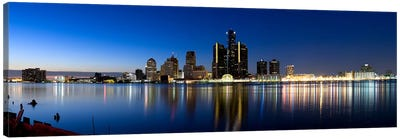 Buildings in a city lit up at dusk, Detroit River, Detroit, Michigan, USA #2 Canvas Art Print