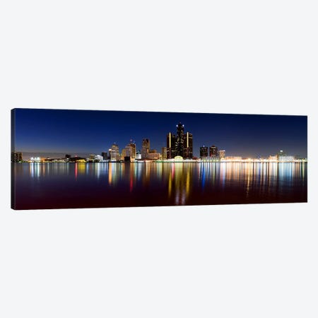 Buildings in a city lit up at duskDetroit River, Detroit, Michigan, USA 3-Piece Canvas #PIM8030} by Panoramic Images Canvas Artwork