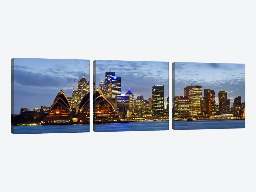 Illuminated Cityscape, Sydney, New South Wales, Australia by Panoramic Images 3-piece Art Print