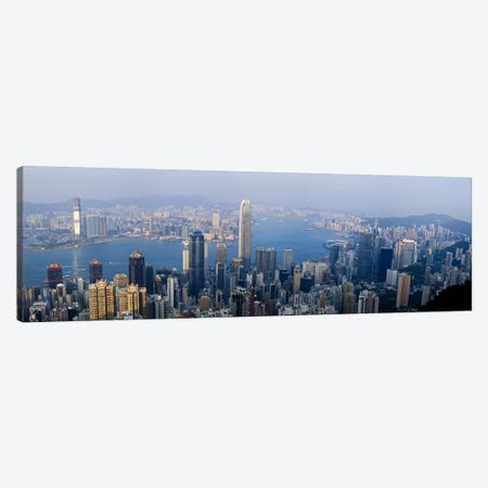 Aerial View Of Victoria Harbour And Surrounding Districts, Hong Kong, People's Republic Of China Canvas Print #PIM8039} by Panoramic Images Canvas Artwork