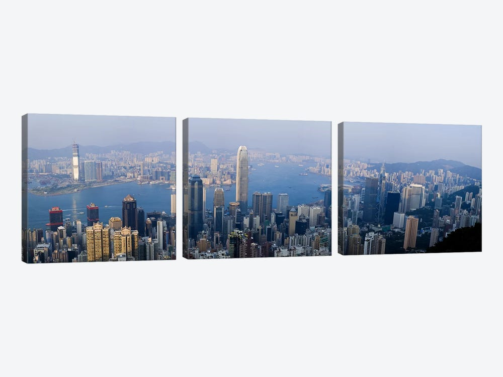Aerial View Of Victoria Harbour And Surrounding Districts, Hong Kong, People's Republic Of China by Panoramic Images 3-piece Canvas Print