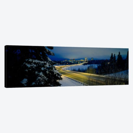 Winding road running through a snow covered landscape, Anchorage, Alaska, USA Canvas Print #PIM803} by Panoramic Images Canvas Artwork
