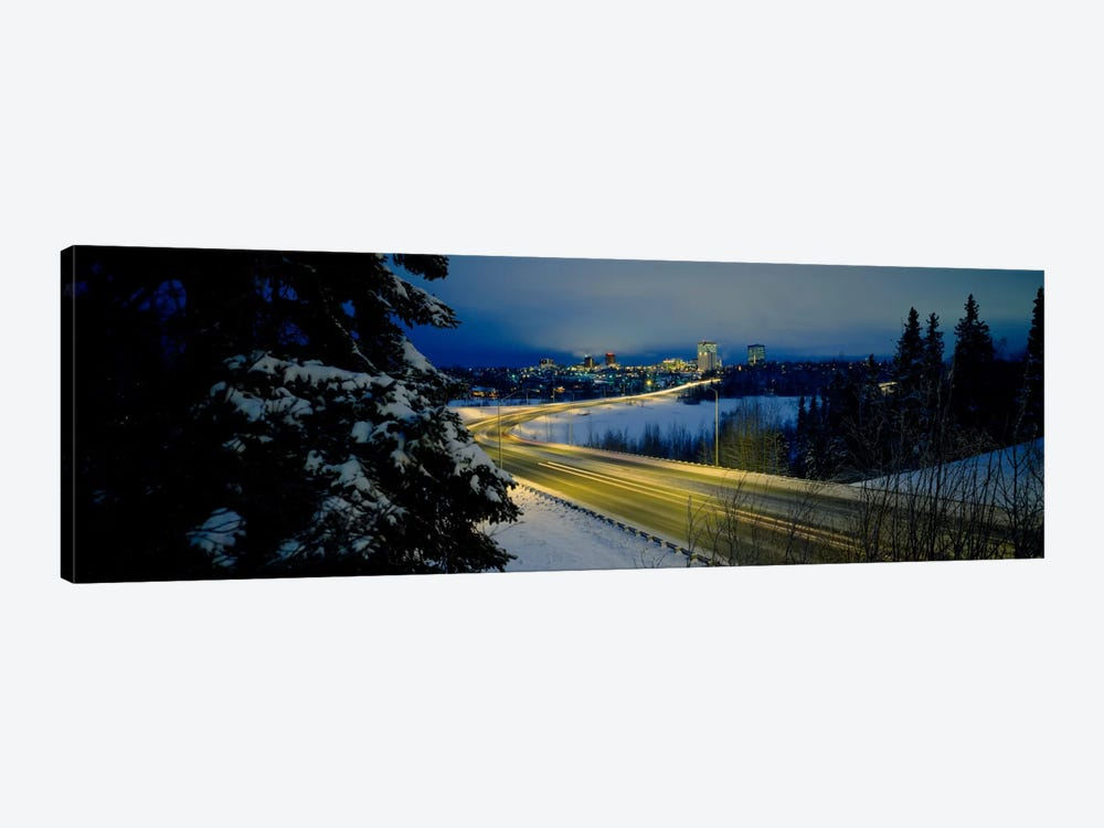 Winding road running through a snow covered landscape, Anchorage, Alaska, USA by Panoramic Images 1-piece Canvas Art