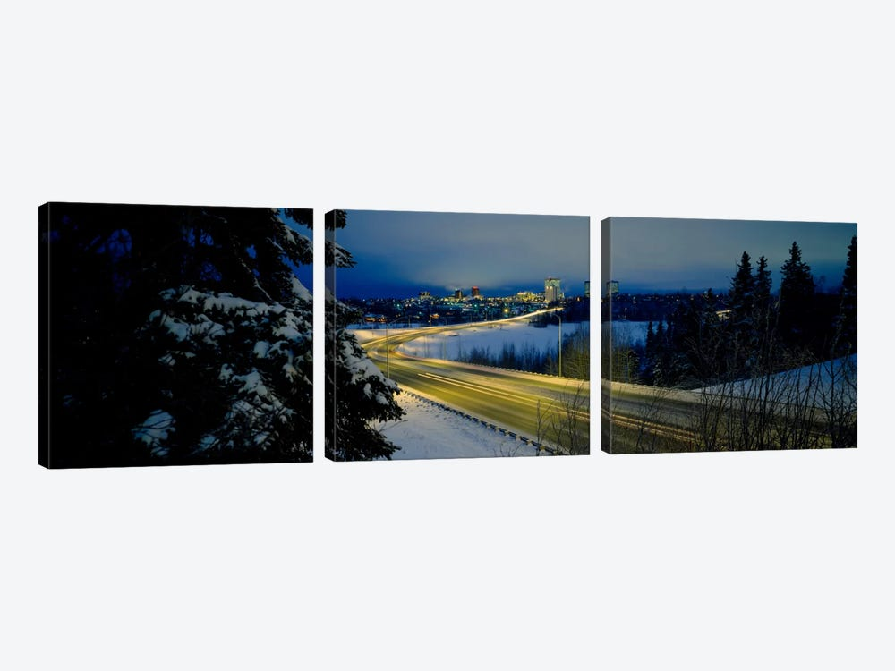 Winding road running through a snow covered landscape, Anchorage, Alaska, USA by Panoramic Images 3-piece Canvas Wall Art