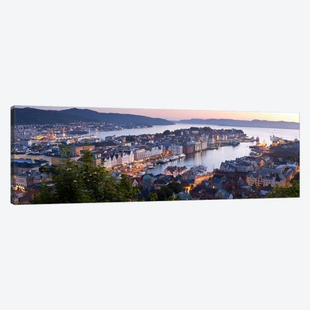 Evening's Glimmer Over Vagen, Bergen, Hordaland, Vestlandet, Norway Canvas Print #PIM8040} by Panoramic Images Canvas Art Print