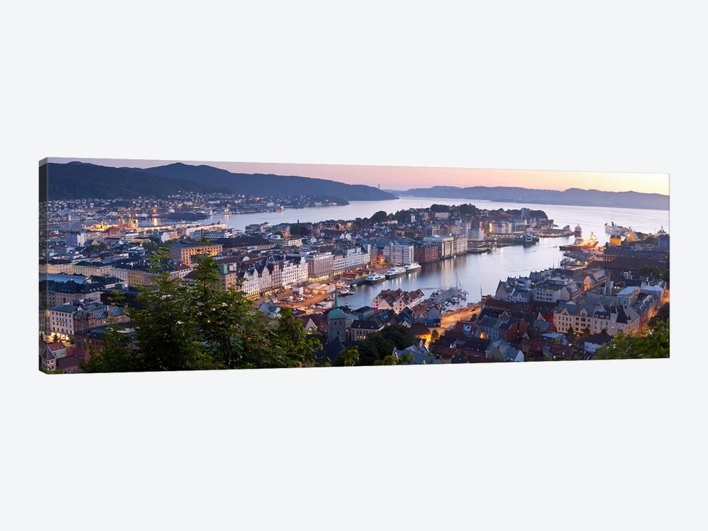 Evening's Glimmer Over Vagen, Bergen, Hordaland, Vestlandet, Norway by Panoramic Images 1-piece Canvas Print