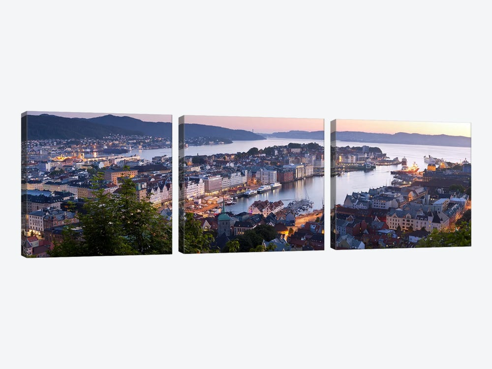 Evening's Glimmer Over Vagen, Bergen, Hordaland, Vestlandet, Norway by Panoramic Images 3-piece Canvas Print