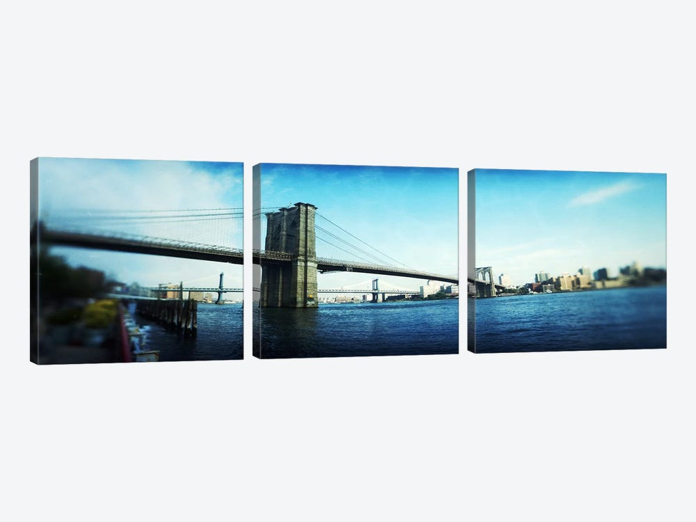 Bridge across a river, Brooklyn Bridge, East River, Brooklyn, New York City, New York State, USA by Panoramic Images 3-piece Canvas Art Print