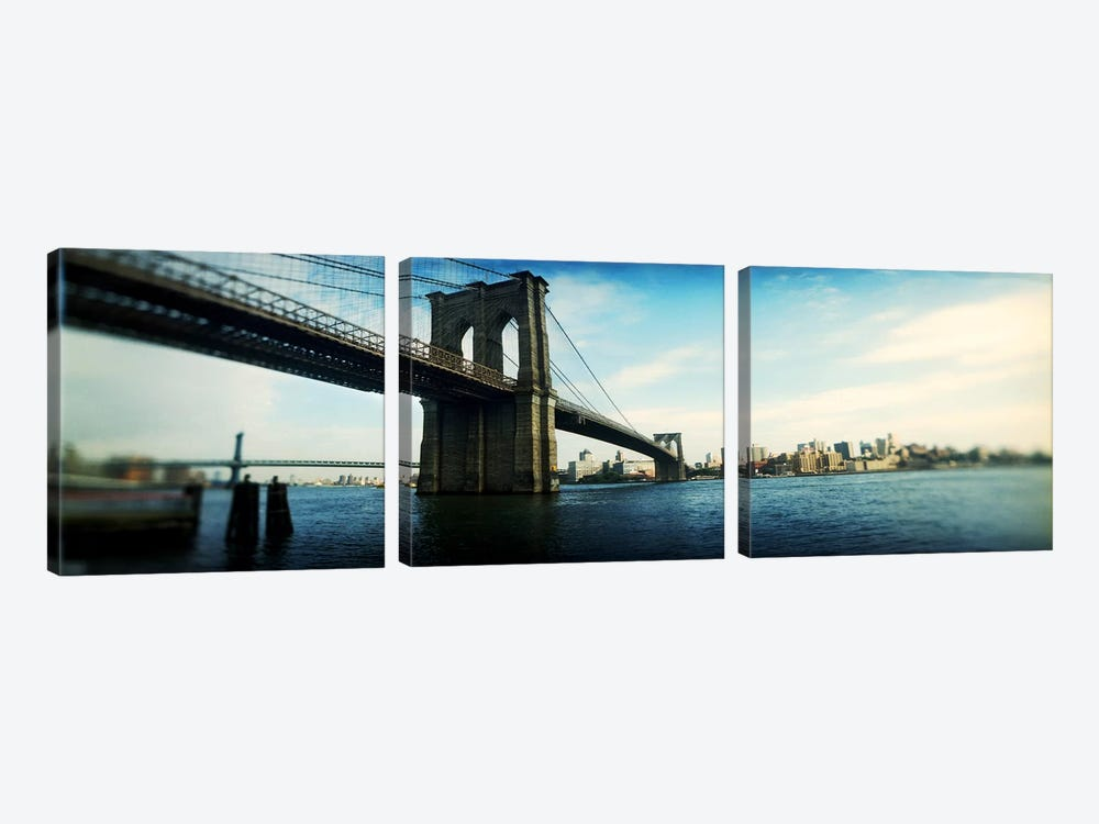 Bridge across a river, Brooklyn Bridge, East River, Brooklyn, New York City, New York State, USA #2 by Panoramic Images 3-piece Canvas Wall Art