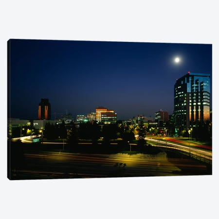 Buildings lit up at night, Sacramento, California, USA Canvas Print #PIM804} by Panoramic Images Canvas Art Print