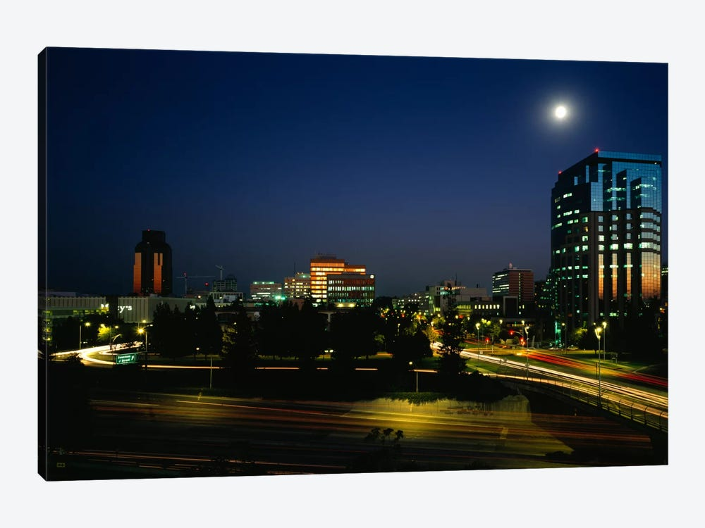 Buildings lit up at night, Sacramento, California, USA by Panoramic Images 1-piece Art Print