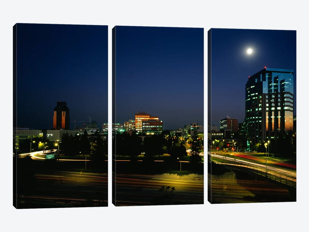 Buildings lit up at night, Sacramento, California, USA by Panoramic Images 3-piece Canvas Art Print