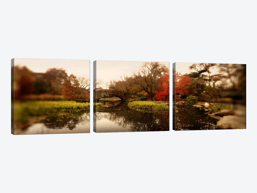 Pond in a park, Central Park, Manhattan, New York City, New York State, USA by Panoramic Images 3-piece Canvas Artwork