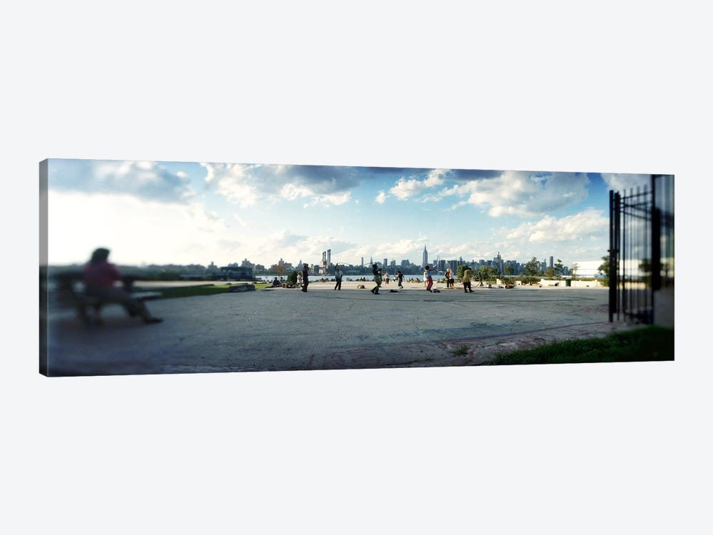 People in a park, East River Park, East River, Williamsburg, Brooklyn, New York City, New York State, USA by Panoramic Images 1-piece Canvas Art Print