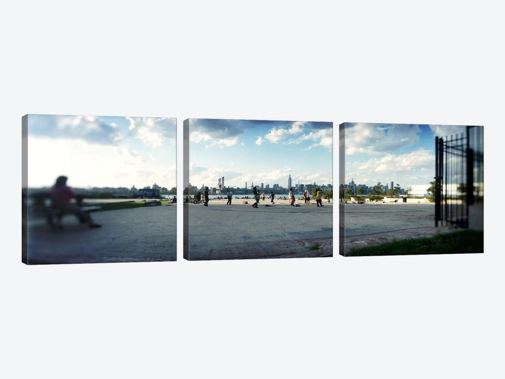 People in a park, East River Park, East River, Williamsburg, Brooklyn, New York City, New York State, USA by Panoramic Images 3-piece Art Print