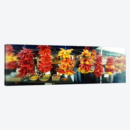 Strands of chili peppers hanging in a market stall, Pike Place Market, Seattle, King County, Washington State, USA Canvas Print #PIM8055} by Panoramic Images Canvas Art Print