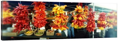 Strands of chili peppers hanging in a market stall, Pike Place Market, Seattle, King County, Washington State, USA Canvas Print #PIM8055