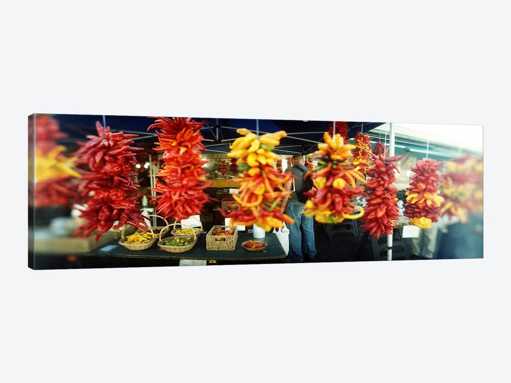 Strands of chili peppers hanging in a market stall, Pike Place Market, Seattle, King County, Washington State, USA by Panoramic Images 1-piece Art Print