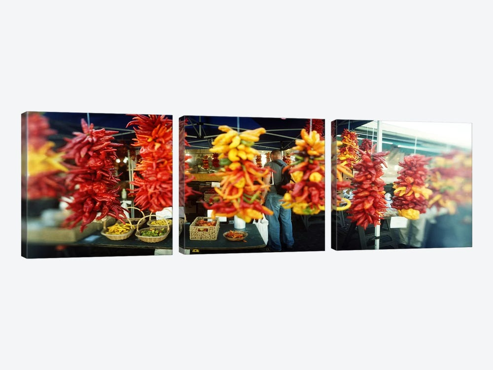 Strands of chili peppers hanging in a market stall, Pike Place Market, Seattle, King County, Washington State, USA by Panoramic Images 3-piece Art Print