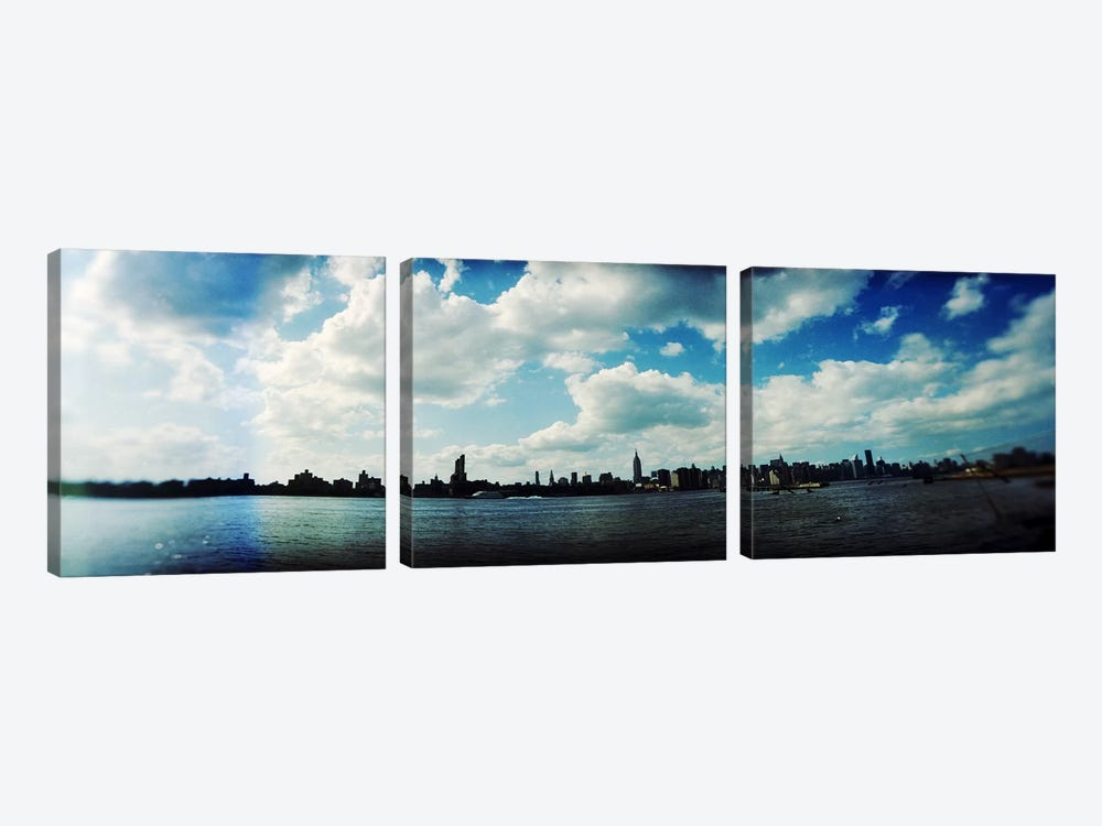 Manhattan skyline viewed from East River Park, East River, Williamsburg, Brooklyn, New York City, New York State, USA by Panoramic Images 3-piece Art Print