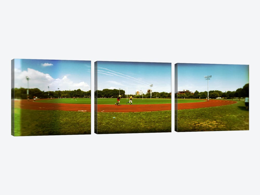 People jogging in a public park, McCarren Park, Greenpoint, Brooklyn, New York City, New York State, USA by Panoramic Images 3-piece Art Print