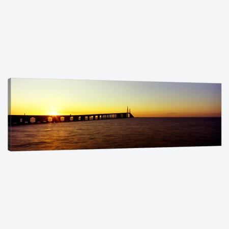Bridge at sunrise, Sunshine Skyway Bridge, Tampa Bay, St. Petersburg, Pinellas County, Florida, USA Canvas Print #PIM8080} by Panoramic Images Canvas Art Print