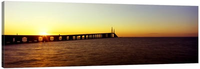 Bridge at sunrise, Sunshine Skyway Bridge, Tampa Bay, St. Petersburg, Pinellas County, Florida, USA Canvas Art Print