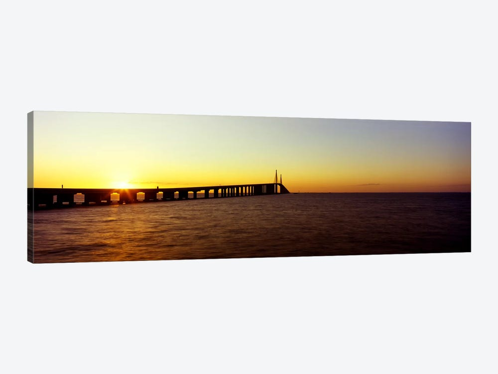 Bridge at sunrise, Sunshine Skyway Bridge, Tampa Bay, St. Petersburg, Pinellas County, Florida, USA by Panoramic Images 1-piece Art Print