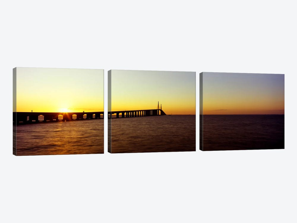 Bridge at sunrise, Sunshine Skyway Bridge, Tampa Bay, St. Petersburg, Pinellas County, Florida, USA by Panoramic Images 3-piece Canvas Print