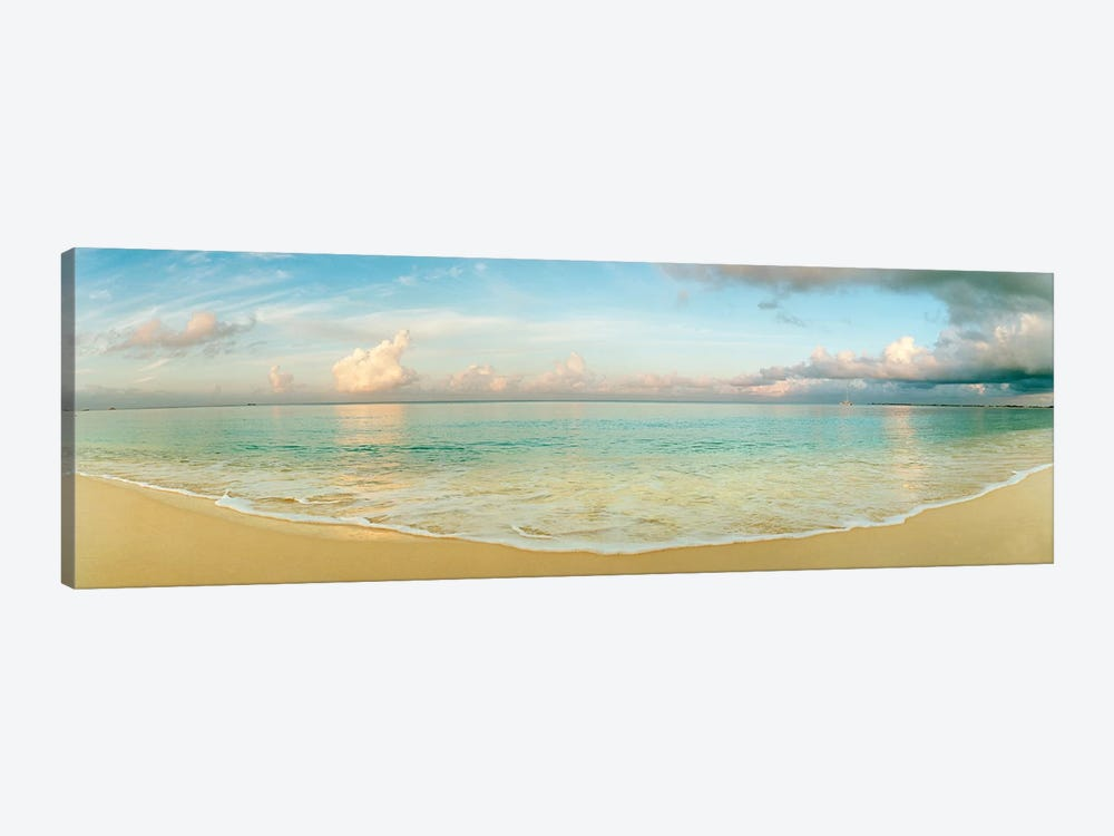 Cloudy Beachscape, Seven Mile Beach, Grand Cayman, Cayman Islands by Panoramic Images 1-piece Canvas Wall Art