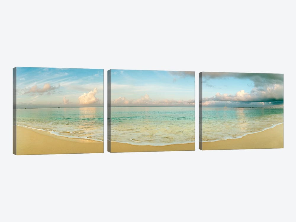 Cloudy Beachscape, Seven Mile Beach, Grand Cayman, Cayman Islands by Panoramic Images 3-piece Canvas Wall Art
