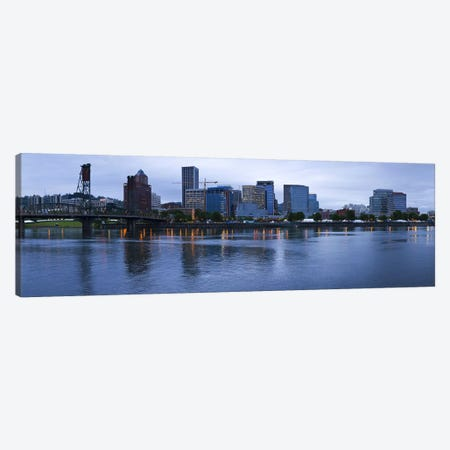 Skyline as seen from the Vera Katz Eastbank Esplanade, Willamette River, Portland, Multnomah County, Oregon, USA Canvas Print #PIM8083} by Panoramic Images Art Print