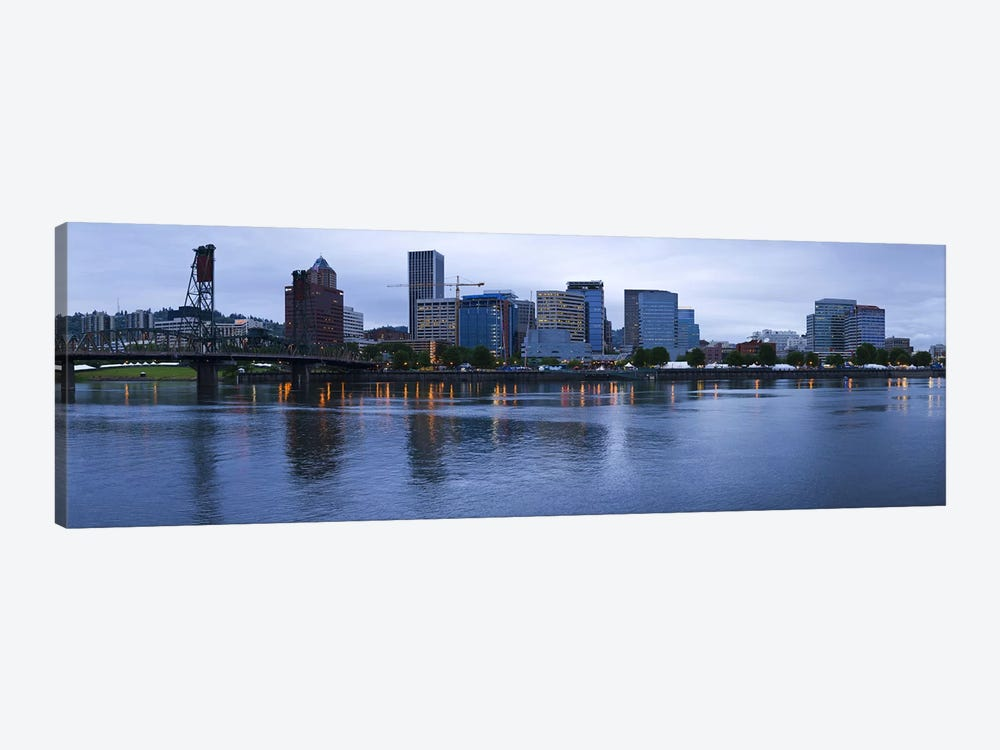 Skyline as seen from the Vera Katz Eastbank Esplanade, Willamette River, Portland, Multnomah County, Oregon, USA 1-piece Canvas Wall Art