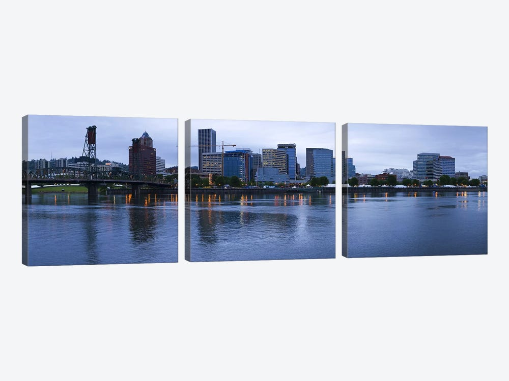 Skyline as seen from the Vera Katz Eastbank Esplanade, Willamette River, Portland, Multnomah County, Oregon, USA 3-piece Canvas Art