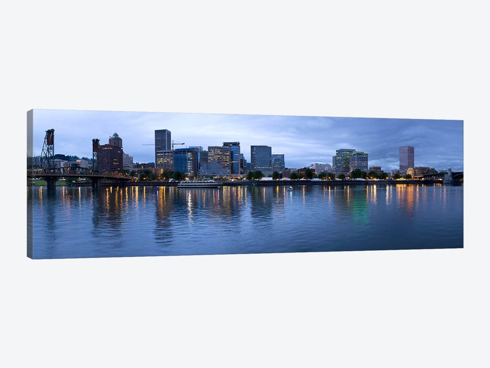 Skyline as seen from the Vera Katz Eastbank Esplanade, Willamette River, Portland, Multnomah County, Oregon, USA #2 by Panoramic Images 1-piece Canvas Print