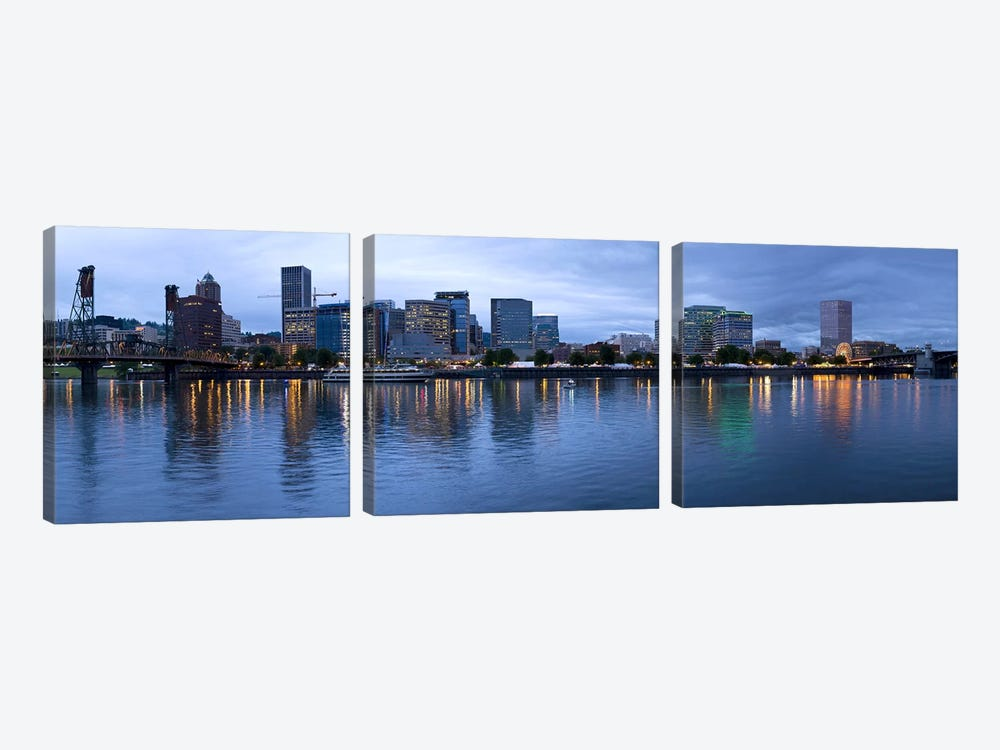 Skyline as seen from the Vera Katz Eastbank Esplanade, Willamette River, Portland, Multnomah County, Oregon, USA #2 by Panoramic Images 3-piece Canvas Print