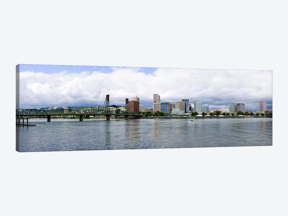 Skyline as seen from the Vera Katz Eastbank Esplanade, Willamette River, Portland, Multnomah County, Oregon, USA #3 by Panoramic Images 1-piece Canvas Artwork