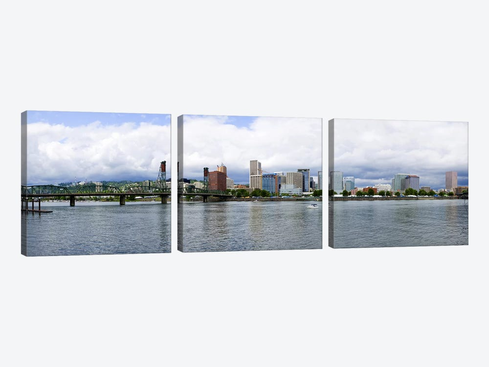 Skyline as seen from the Vera Katz Eastbank Esplanade, Willamette River, Portland, Multnomah County, Oregon, USA #3 by Panoramic Images 3-piece Canvas Artwork