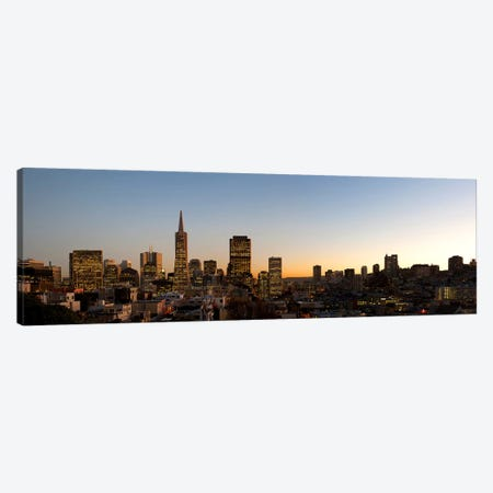 Buildings lit up at dusk, Telegraph Hill, San Francisco, California, USA Canvas Print #PIM8088} by Panoramic Images Art Print