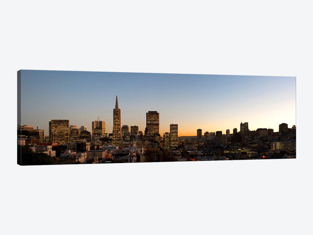 Buildings lit up at dusk, Telegraph Hill, San Francisco, California, USA by Panoramic Images 1-piece Canvas Print