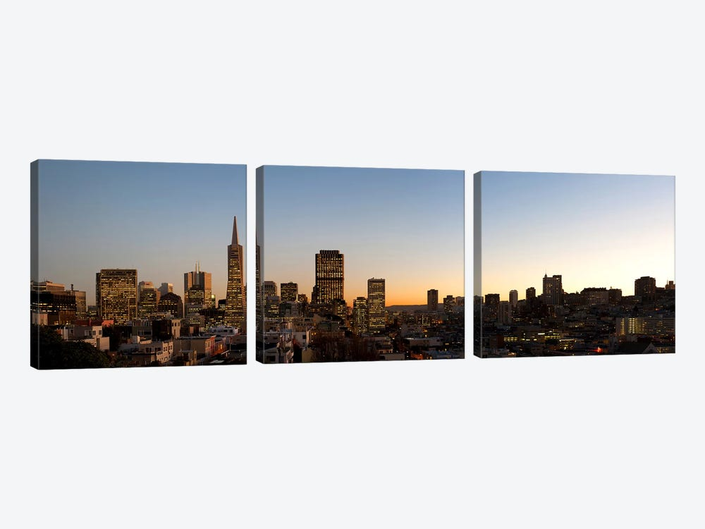 Buildings lit up at dusk, Telegraph Hill, San Francisco, California, USA by Panoramic Images 3-piece Canvas Print
