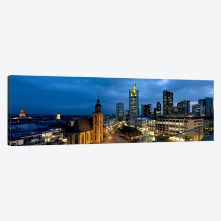 Buildings lit up at night, St. Catherine's Church, Hauptwache, Frankfurt, Hesse, Germany Canvas Print #PIM8089} by Panoramic Images Canvas Print