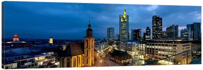 Buildings lit up at night, St. Catherine's Church, Hauptwache, Frankfurt, Hesse, Germany Canvas Art Print