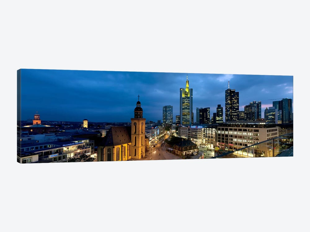 Buildings lit up at night, St. Catherine's Church, Hauptwache, Frankfurt, Hesse, Germany by Panoramic Images 1-piece Canvas Art