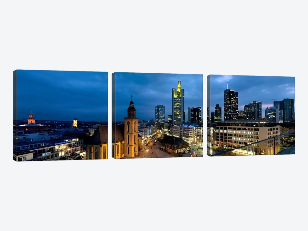 Buildings lit up at night, St. Catherine's Church, Hauptwache, Frankfurt, Hesse, Germany by Panoramic Images 3-piece Canvas Wall Art