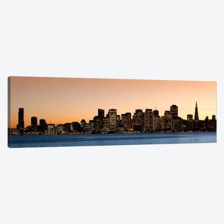 Buildings lit up at dusk, San Francisco, California, USA 2010 Canvas Print #PIM8094} by Panoramic Images Canvas Art Print