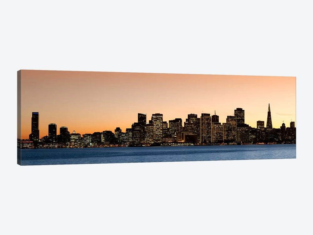 Buildings lit up at dusk, San Francisco, California, USA 2010 by Panoramic Images 1-piece Canvas Art